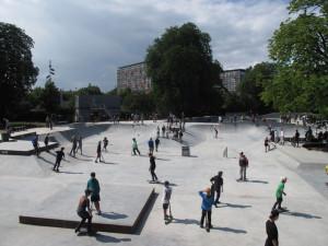 Het skatepark van Copenhagen op een zonnige lentedag in 2012
