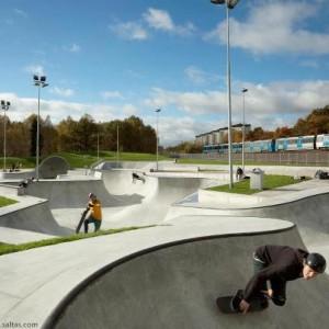 Europa's grootste skatepark: Highvalley skatepark in Stockholm, Zweden.